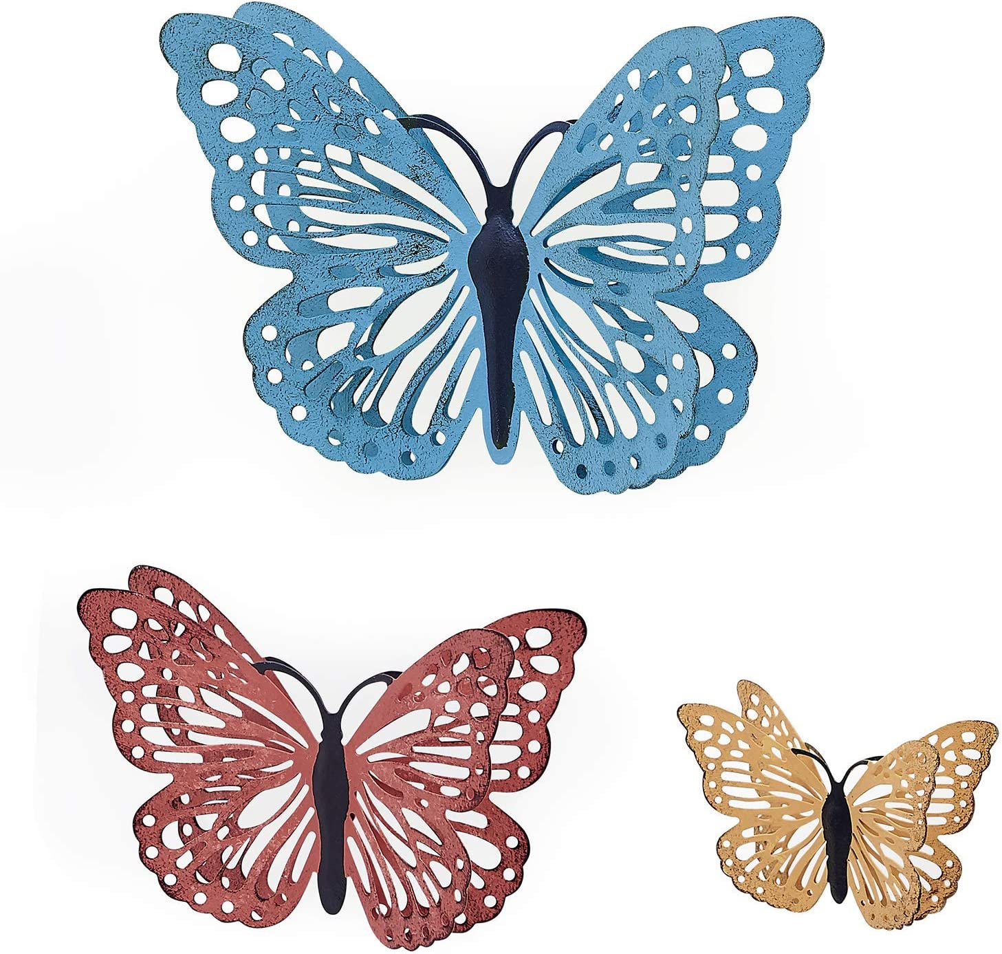 H HOMEBROAD. Metal Butterfly Wall Art, Hanging Wall Decor for Indoor and Outdoor Wall Sculptures, Set of 3