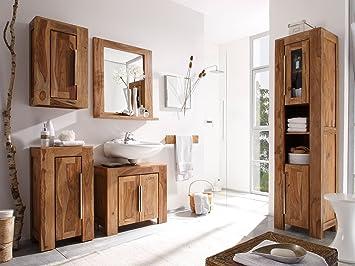 Badschränke Holz massivum stark badmöbel set holz braun 35 x 45 x 185 cm amazon