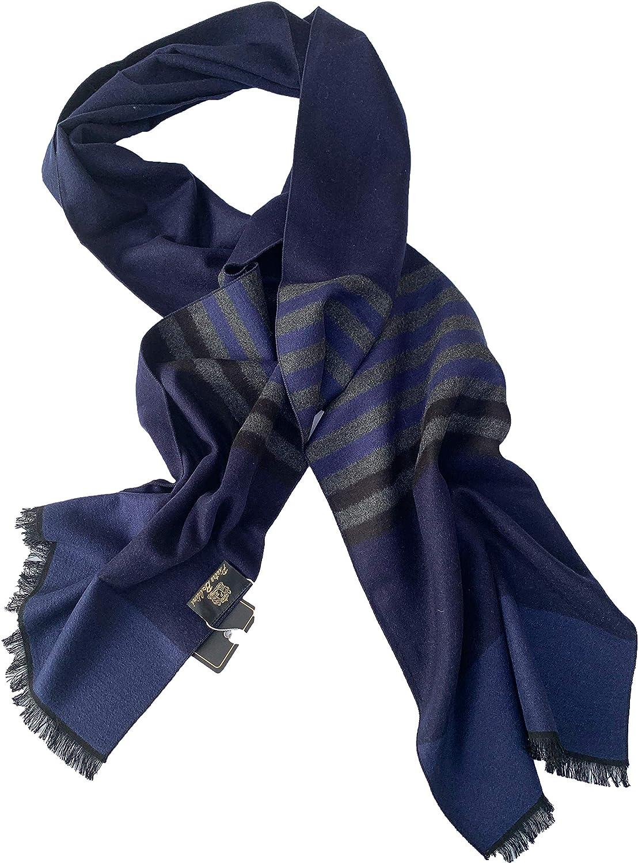 100/% seda Bufandas hombre de invierno doble cara negro gris muy elegante de Pietro Baldini