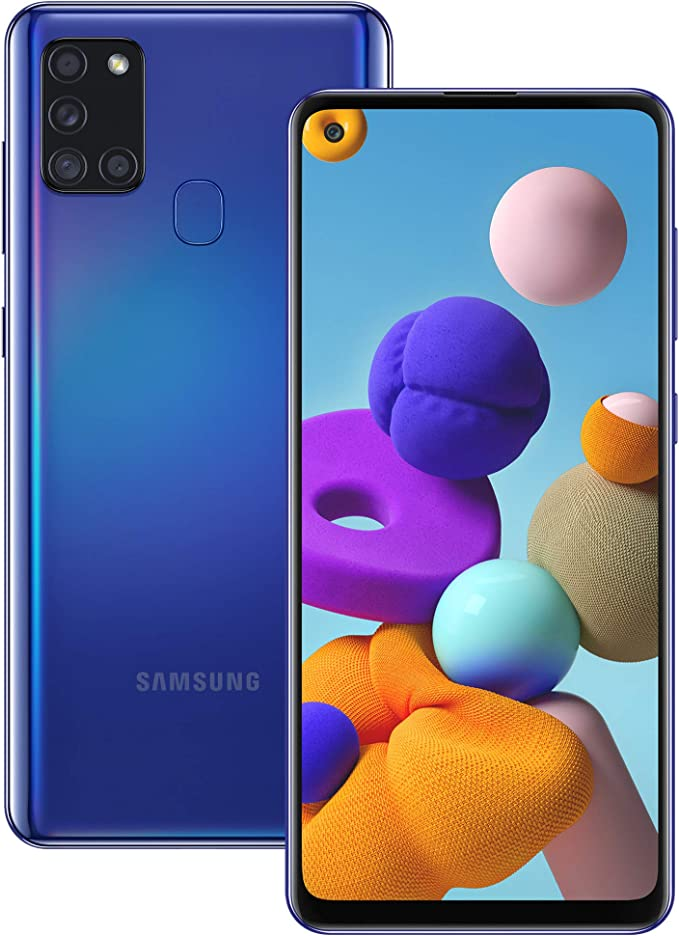 Samsung Galaxy A21s Android Smartphone, SIM Free Mobile Phone, Blue