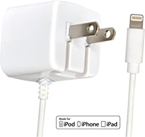 Apple Certified iPhone Lightning Charger - Wall Plug with 6 Foot Cable - for iPhone 11 Pro XS Max X XR XS SE 8 Plus 7 6S 6 5S 5 5C - 2.1a Rapid Power - Take for Travel - White