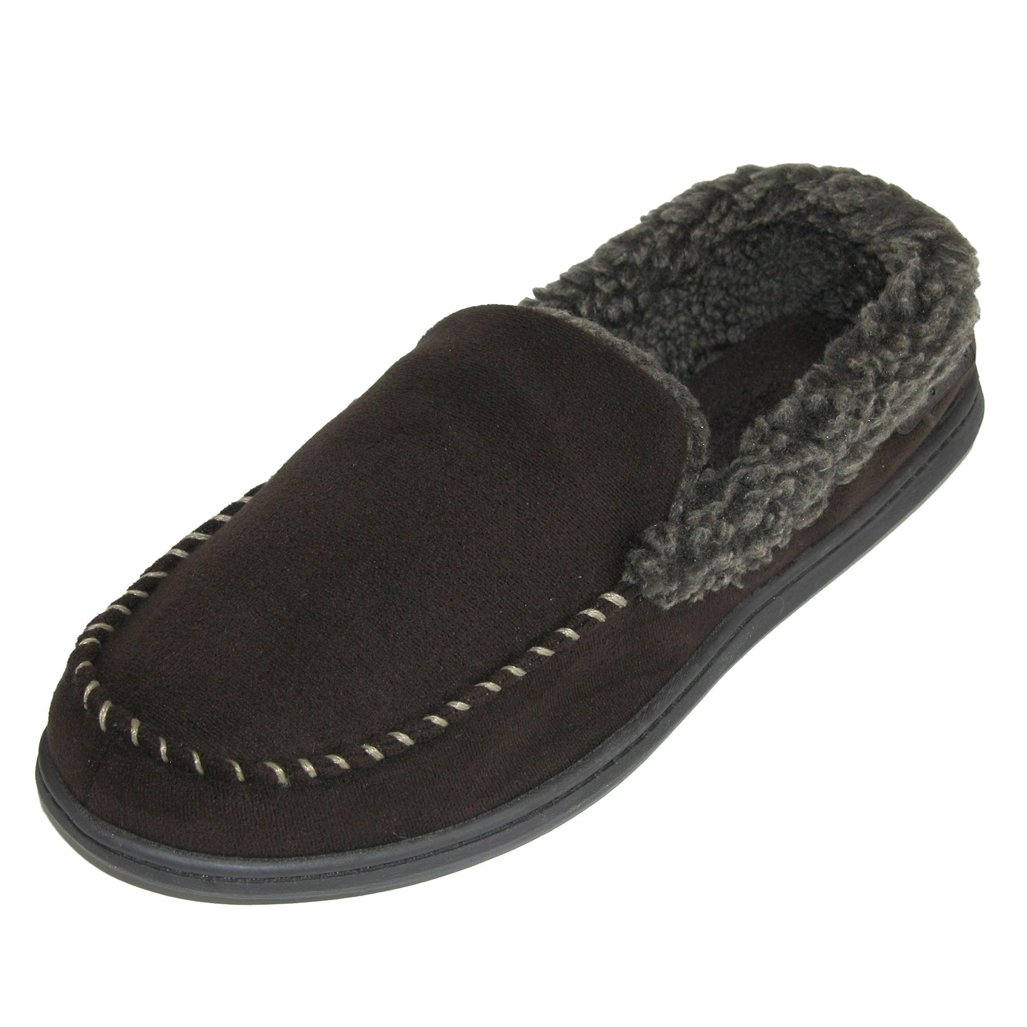 Dearfoams Men's Microfiber Suede Closed Back Moccasin Style Slipper – Padded Slip-ONS Memory Foam Insole, Can be Worn Indoors Outdoors