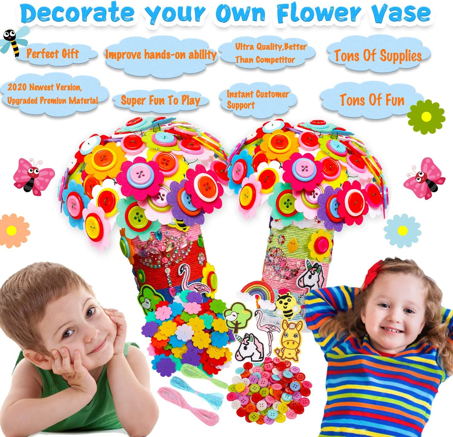 1pack Create Your Own Flower /& Vase DIY Craft Project for Boys /& Girls,Fun Gift for Children Age 4 5 6 7 8 9 Years Old,More Supplies with Tons of On Trend Stickers YOFUN Flower Craft Kit for Kids