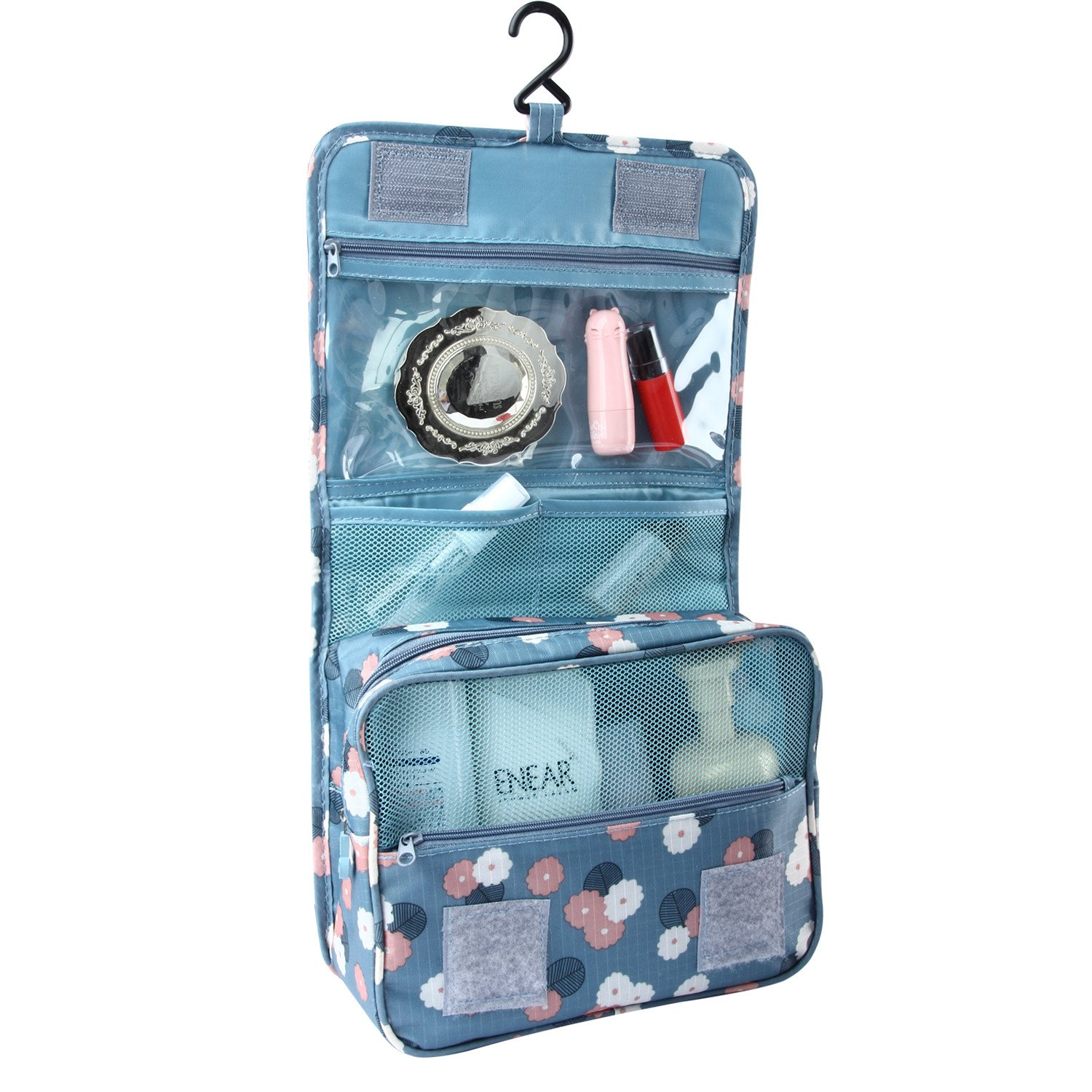 Discoball Portable Travel Folding Make up Toiletry Bags with Hook Organizer Bags Cosmetic Bags(Blue Flower) 57962
