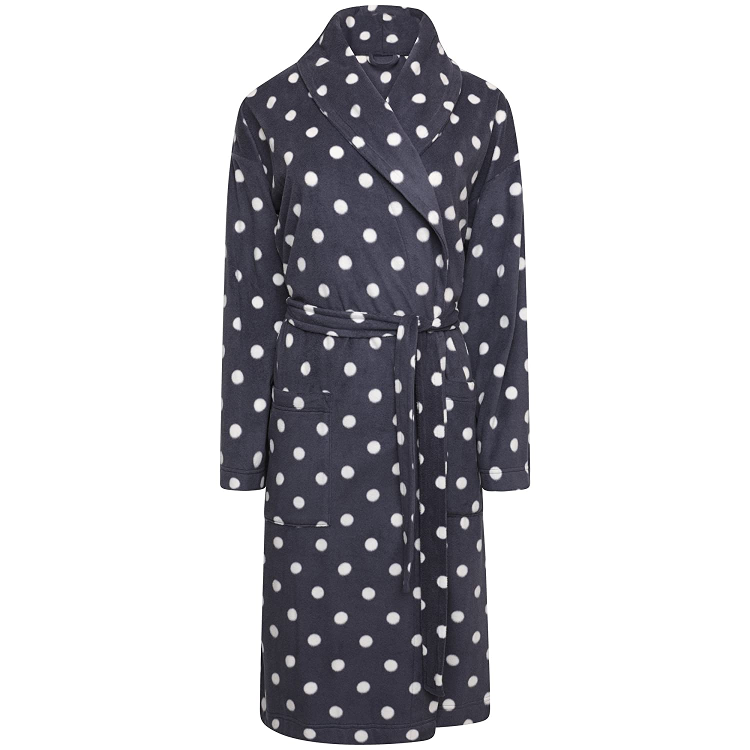 b2dfd652c5 Ladies Spot Fleece Wrapover Dressing Gown. Charcoal or Red. Sizes 8-10 to  20-22  Amazon.co.uk  Clothing
