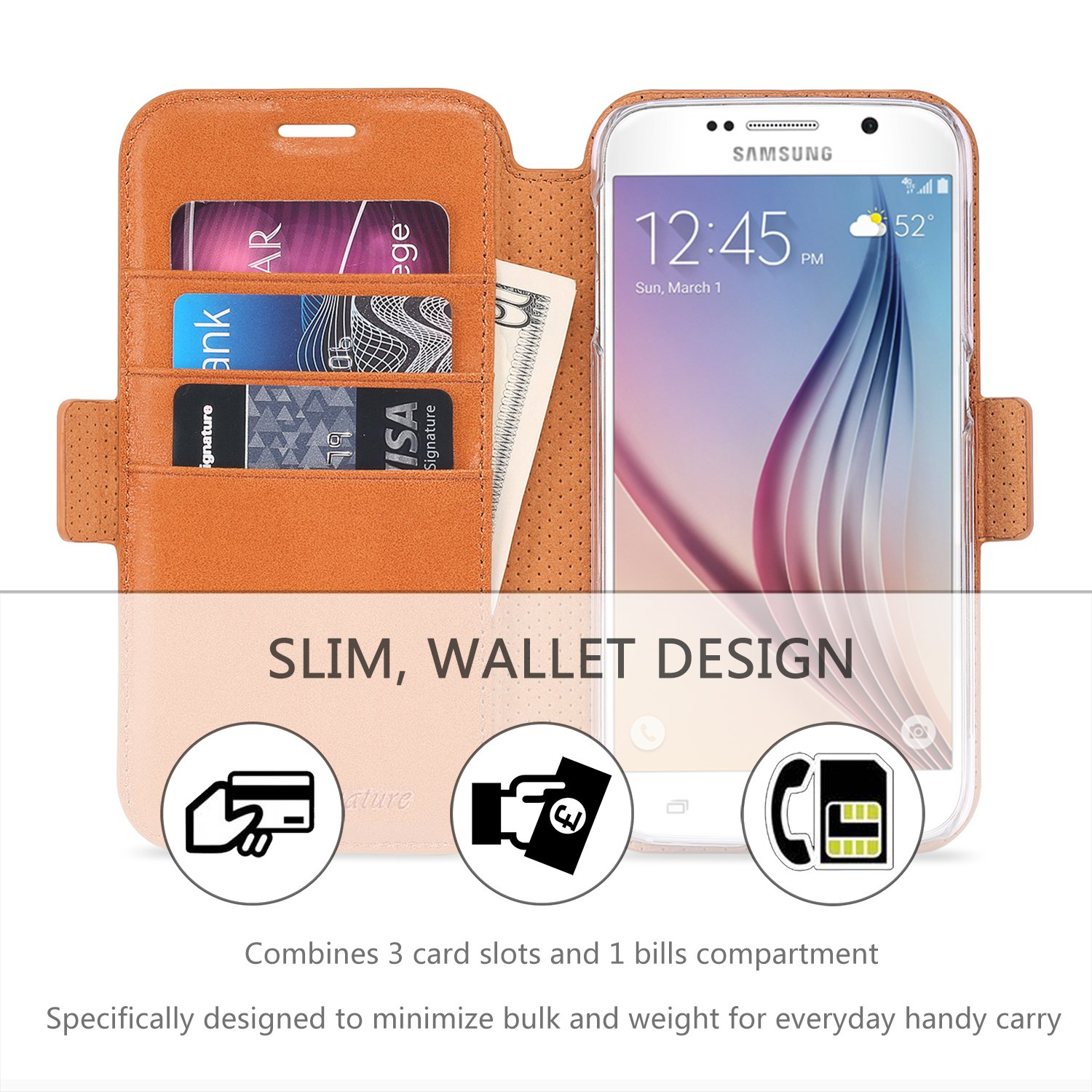 Amazon Galaxy S6 Case Galaxy S6 Wallet Case SHIELDON Genuine