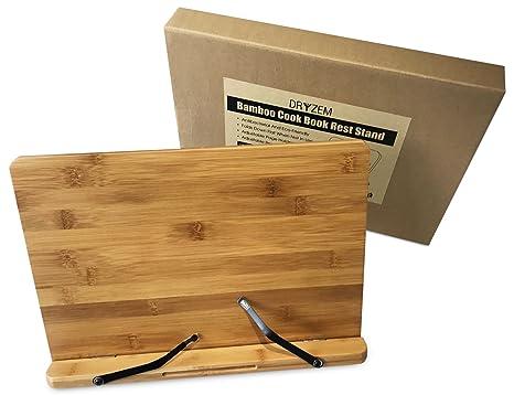 Libro de bambú Multiángulo y soporte para Tablet el hogar cocina cocinar y lectura por Dryzem