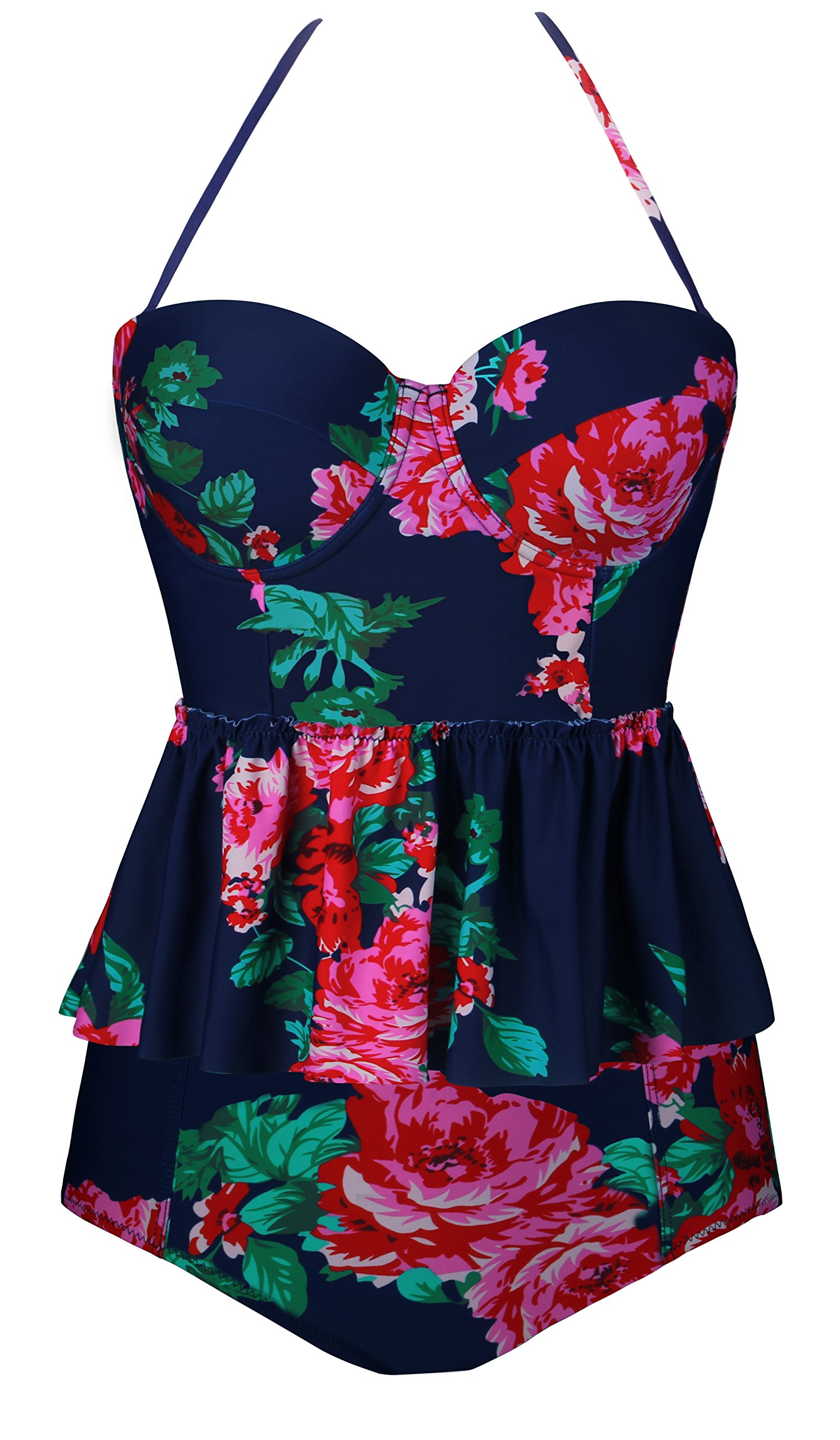 Angerella Vintage Swimwear Floral Print Bottom Tankini Bikini Peplum Swimsuit for Women Navy Blue,2XL
