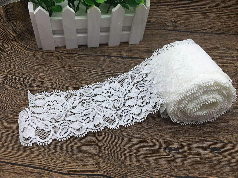 mariage Floral Pour tressage Rouleau de ruban en dentelle D/écoration pour travaux manuels Rugueux 7 cm de large 9,1 m Broderie perl/ée Extensible Yulakes