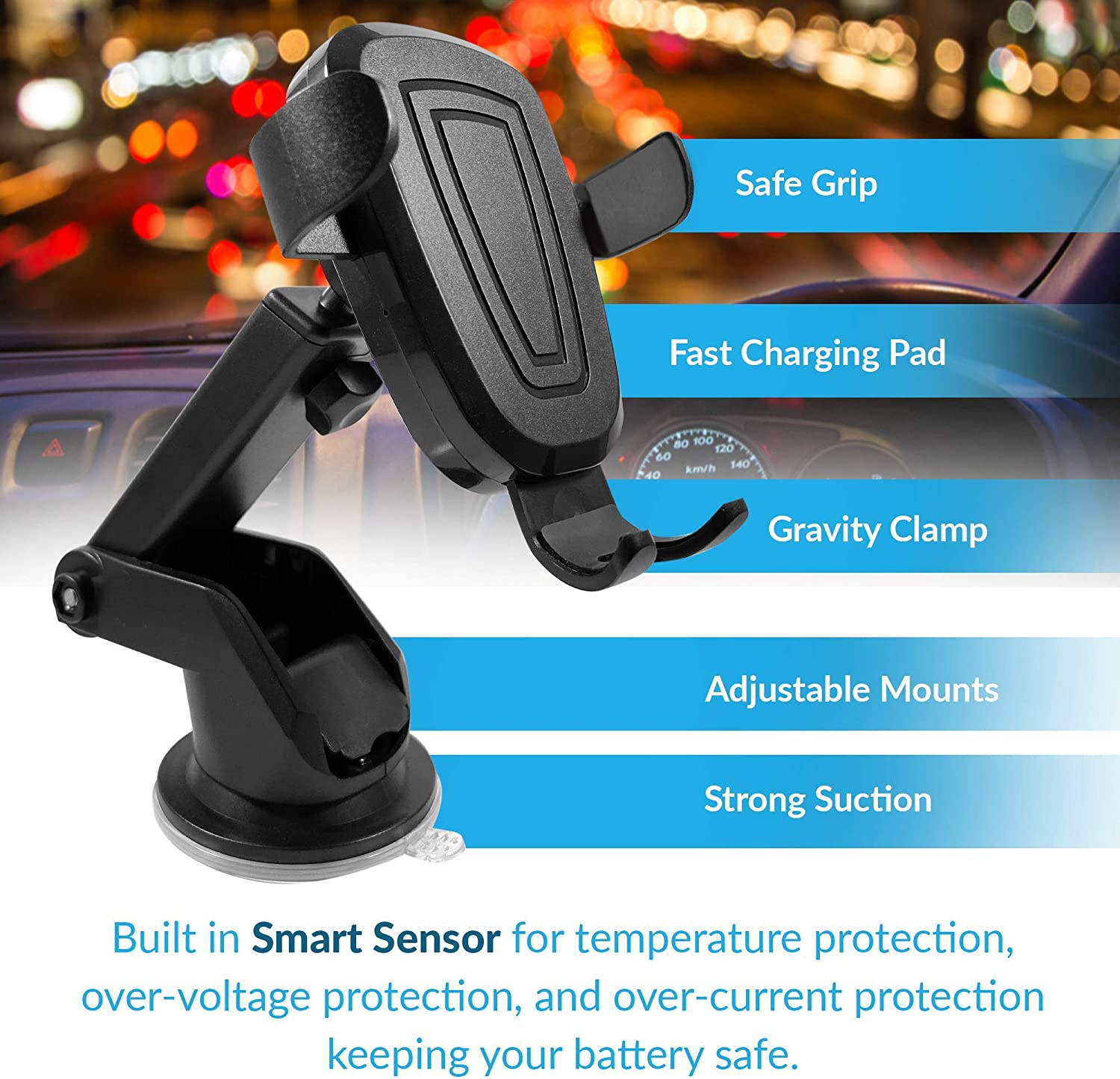 /& Later Tractex Wireless Car Charger 10W Dash//Windshield /& Air Vent Compatible with iPhone 8//8 Plus /& Later Samsung S6 Edge 7.5W Qi Fast Charging Gravity Clamping Mount