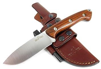 Jeo tec nº outdoor survie couteau de chasse manche en bois
