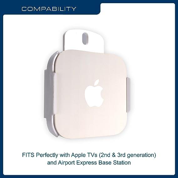 Rukoy Soporte de Montaje en Pared para Apple TV 4 :Transparente 4K con Siri Remote Protective Case para Apple TV 4 4K 5th Gen