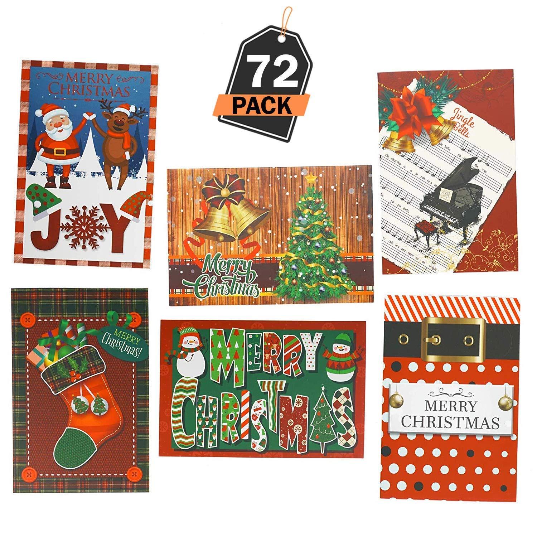 Set di 72 Cartoline di Auguri di Natale per le Festività per uso Aziendale e Personale Kompanion