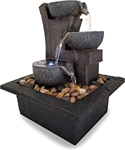 DANNER MANUFACTURING 03801 Aura Meditation Fountain with 3 Tiered LED Waterfall, Pack of 1