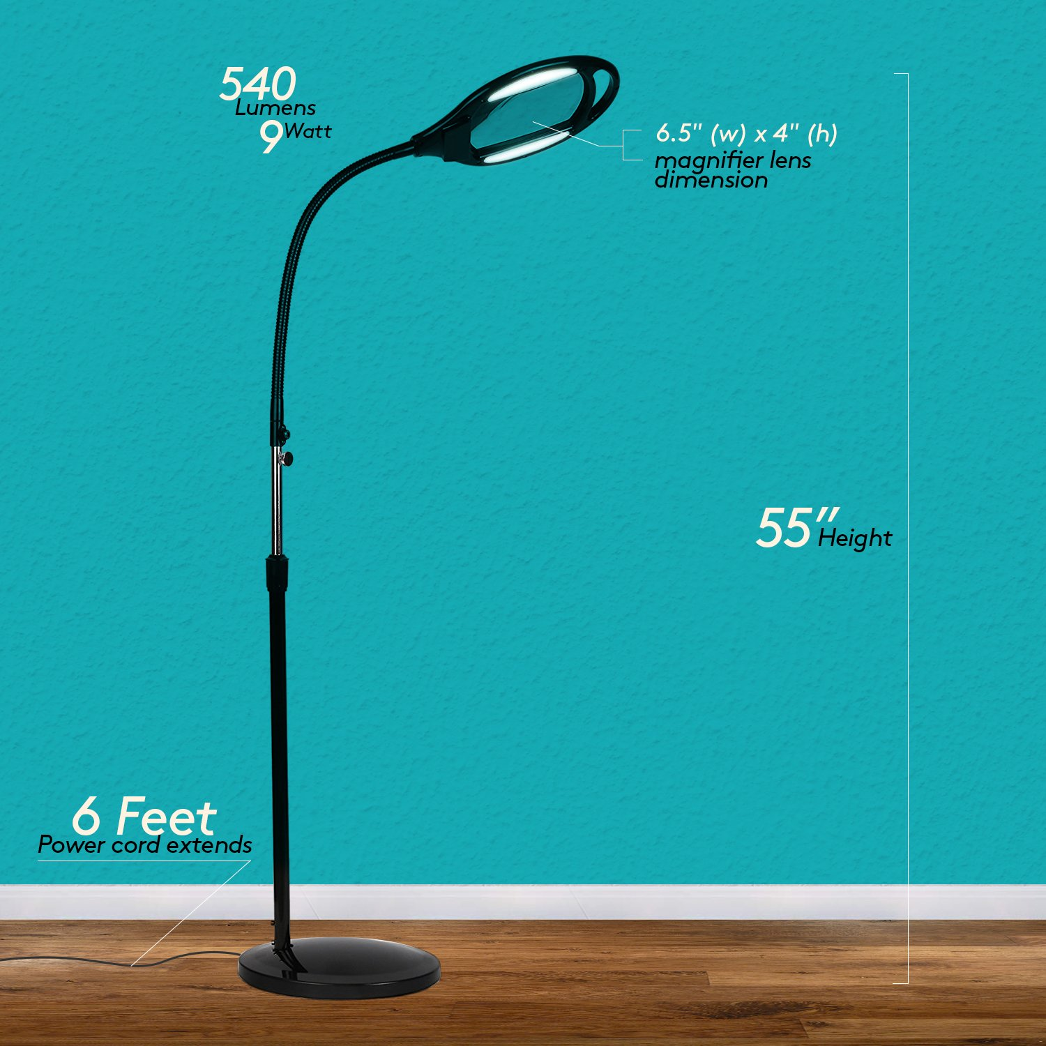 Brightech LightView Pro LED Magnifying Glass Floor Lamp - Magnifier With Bright Light For Reading, Tasks & Crafts - Height Adjustable Gooseneck Standing Lighting - Black by Brightech (Image #9)