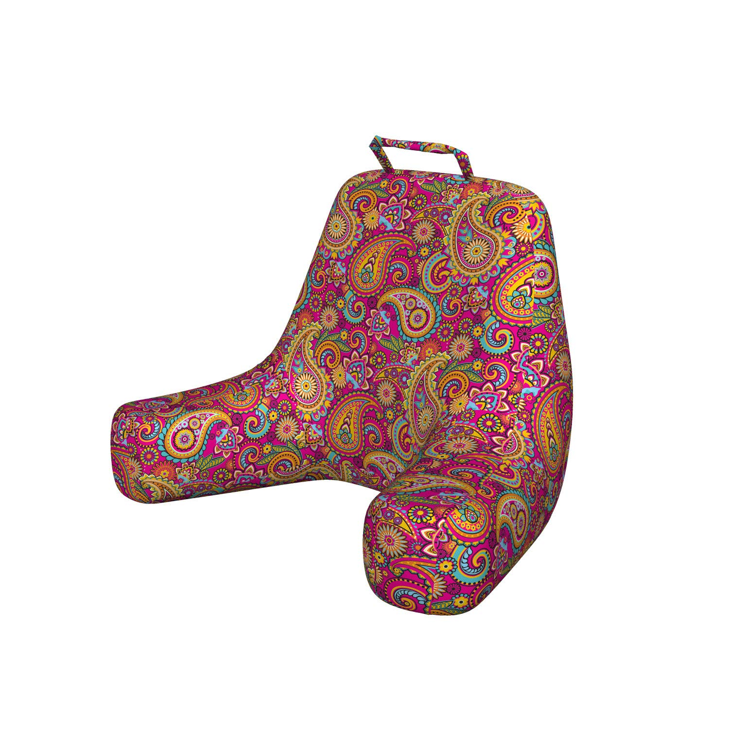 Ambesonne Paisley Reading Cushion with Back Pocket, Paisley Patterns Based on Traditional Eastern Pastel Design, Boyfriend Pillow for Bed Rest Gaming, X-Large, Pale Magenta