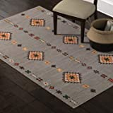 Amazon Brand – Stone & Beam Casual Geometric Cotton Area Rug, 5 x 8 Foot, Flatweave, Grey, Orange