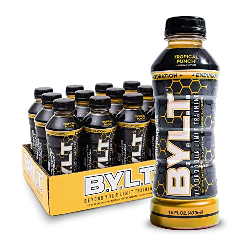 BYLT Sports Drink Science Backed Ingredients For Superior Hydration, Energy, Performance, Endurance Muscle Recovery Non GMO, Gluten, Soy Caffeine Free Tropical Punch Flavor, Case of 12
