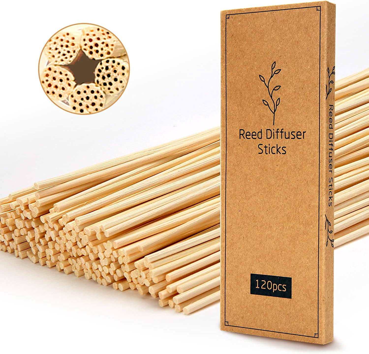 T&C 120PCS Reed Diffuser Sticks,10 Inch Natural Rattan Wood Sticks,Diffuser Refills,Essential Oil Aroma Diffuser Replacements Sticks for Home,Office
