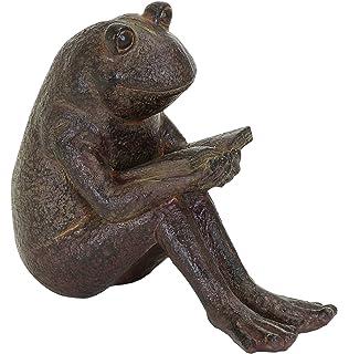 Captivating Benzara Quite Reading Garden Frog Statue, Polystone