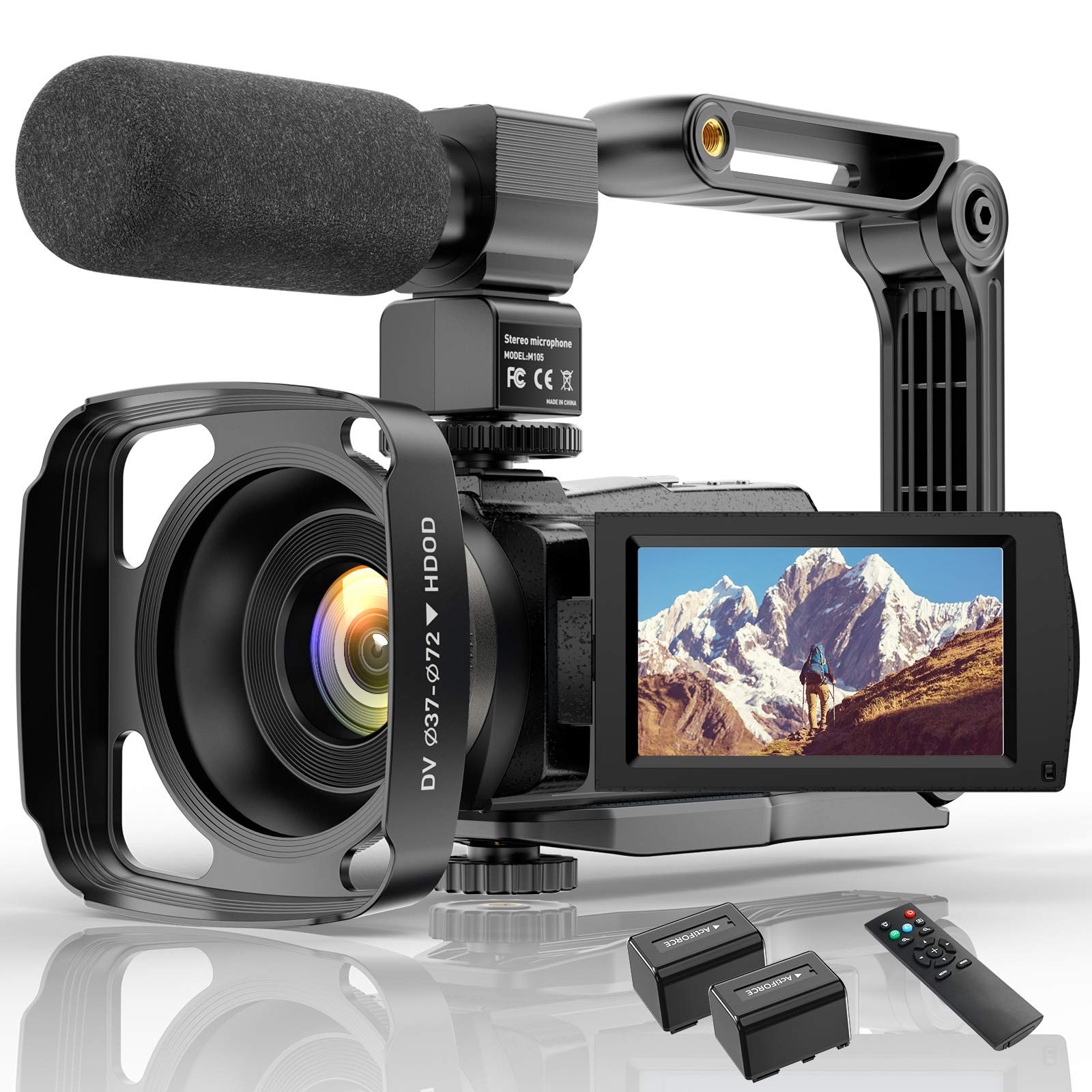 4K Camcorder HD Digital Video Camera for Youtube WiFi Vlogging Camera, IR Night 48MP 16X Digital Zoom 3.0 Inch 270° Rotatable Touch Screen Camera Recorder with Microphone Remote Control