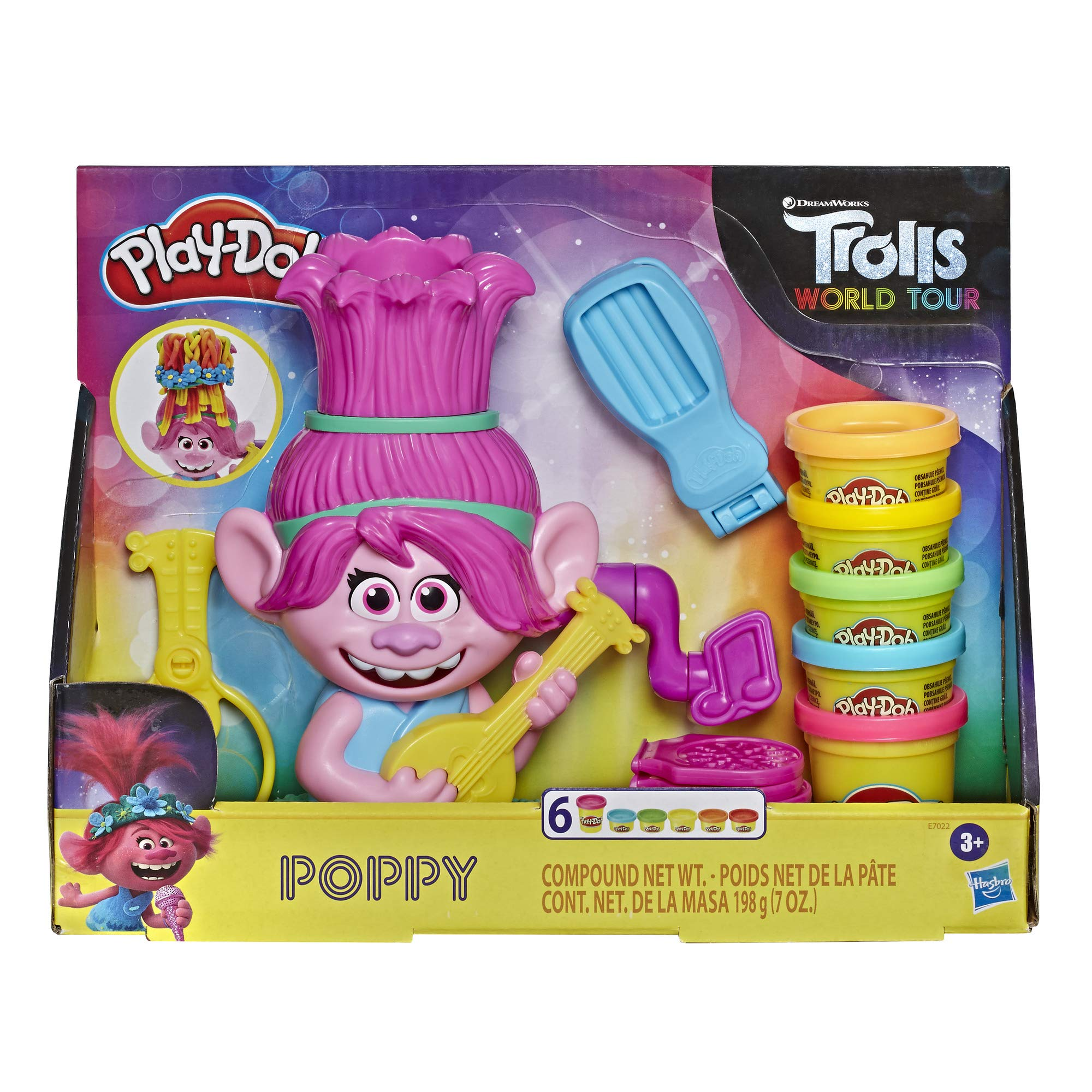 Play-Doh Trolls World Tour Rainbow Hair Poppy Styling Toy for Children 3 Years and Up with 6 Non-Toxic Colours