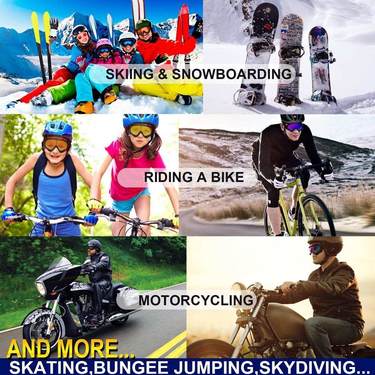 YYGIFT/® Skibrille Snowboard Wintersport Brille Snowboardbrille Schneebrille Wind Staubschutz Schutzbrille Radsportbrille Skifahren Schifahren f/ür Damen Herren gr/ö/ßere Kinder Jungen und M/ädchen