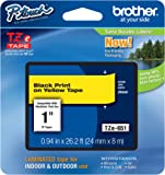 Brother Laminated Tape Black on Yellow, 24mm (TZe651) - Retail Packaging