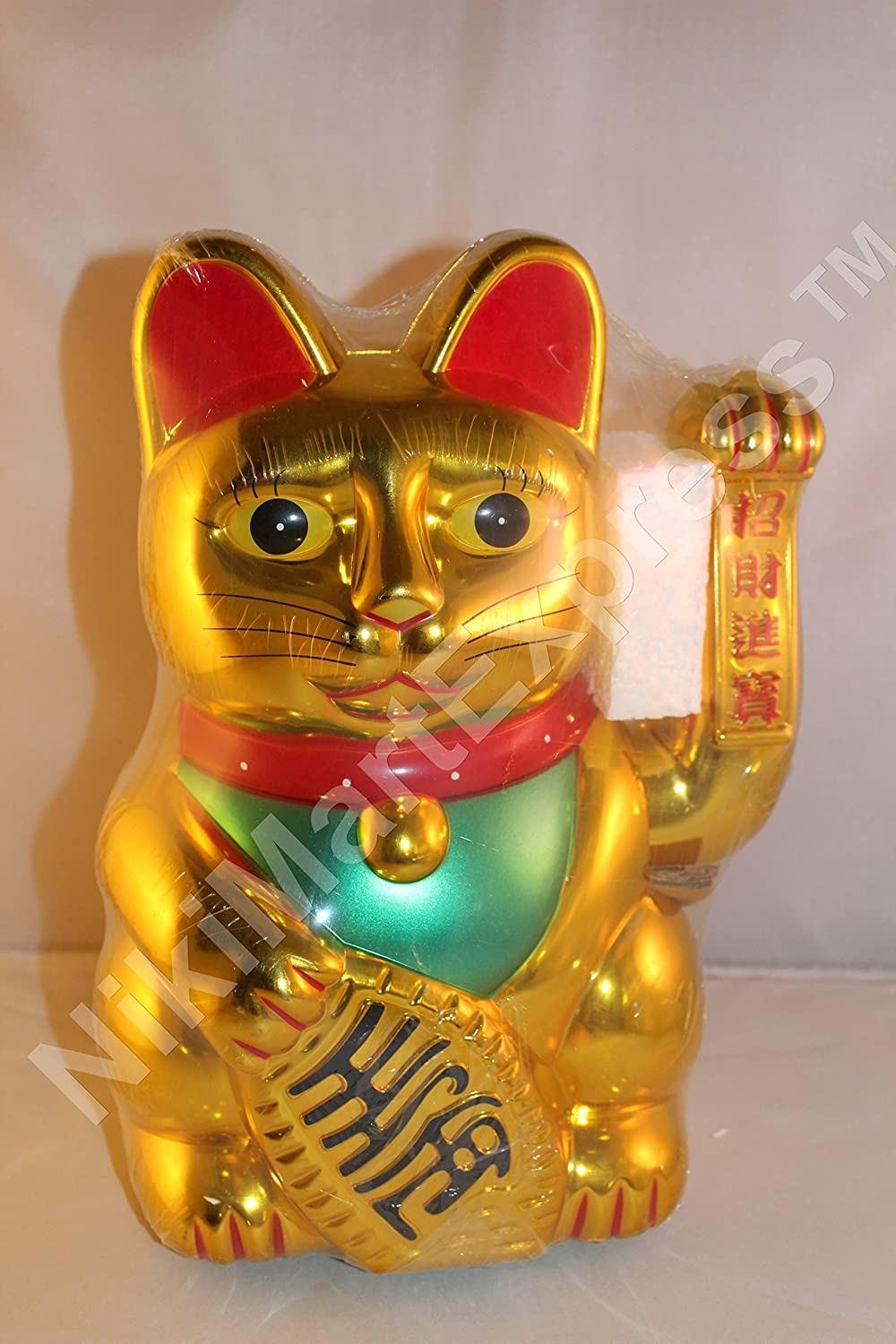 "12"" Large GOLDEN Japanese Feng Shui Lucky Wealth Health Maneki Neko Waving Hand Paw Up Beckoning Fortune Cat"