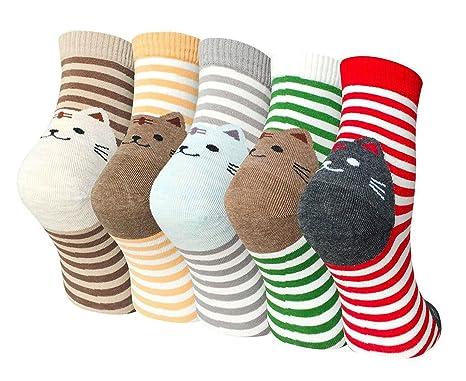 5d62f887a Ladies Womens Cartoon Cotton Socks Cute Cat Design Casual Novelty Crew Socks