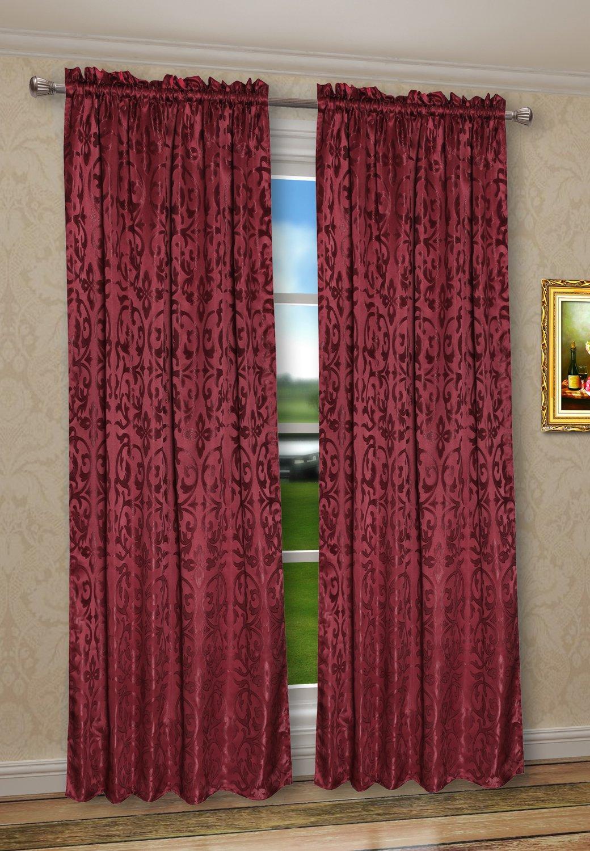 CaliTime Rod Pocket Window Curtains Panels for Bedroom, Damask Vintage Floral Red Burgundy