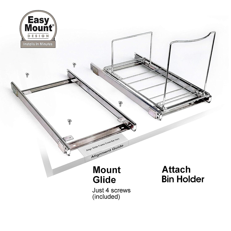 Lynk Professional 230121DS Slide Out Adjustable Bin Holder One Size Chrome