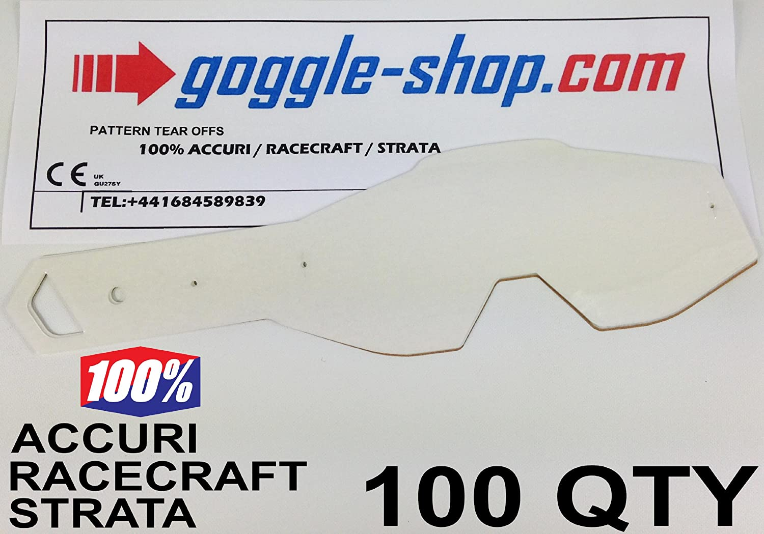 Goggle-Shop Motocross Tear Offs 100 Quantity to fit 100% Racecraft