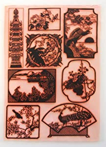 """Vintage Chinese Engraving (7""""x10"""") Clear Stamps Large Sheet/Antique, Retro, Japan"""