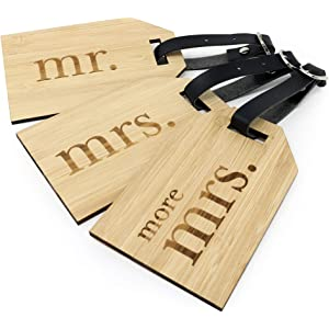 0ac48f96c06d Amazon.com | Mr Mrs Wooden Luggage Tags Travel Cute Couples Gift ...