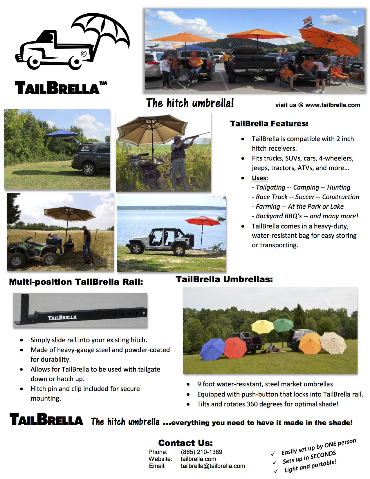 Tailbrella Blue Tailgate Hitch Umbrella Canopy for Truck SUV Tailgater. 9FT Large Water-Resistant Tailgating Tents for Outdoor Camping, Beach, Travel, Hunting. EZ Pop Up Umbrellas for Shade by Tailbrella