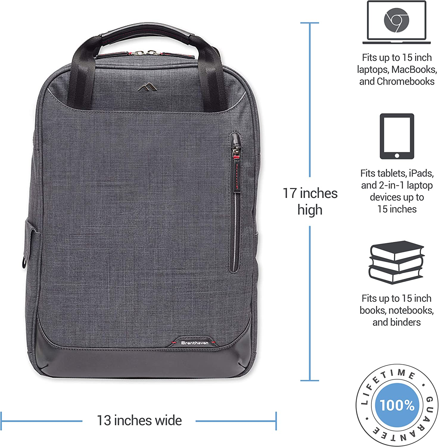 Durable Tablet for Commercial Brenthaven Collins Convertible Backpack With Tote Straps Fits 15 Inch Laptop Business Office Rugged Protection from Impact and Compression Apple Macbook Graphite
