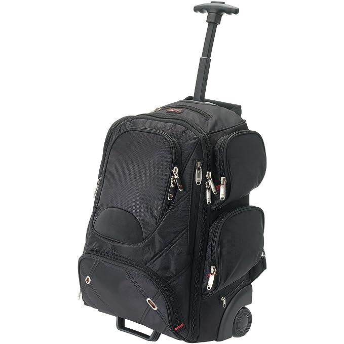 ELLEVEN - Mochila con ruedas para portátiles 17 ideal para viajes modelo Proton (34.5 x 19 x 50 cm) (Negro): Amazon.es: Ropa y accesorios