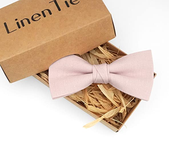 aa1aa4d08c68 Light dusty rose wedding bow tie for groomsmen made from eco-friendly linen,  dusty pink bow ties for men kids and boys, dusty rose skinny and standard  ...