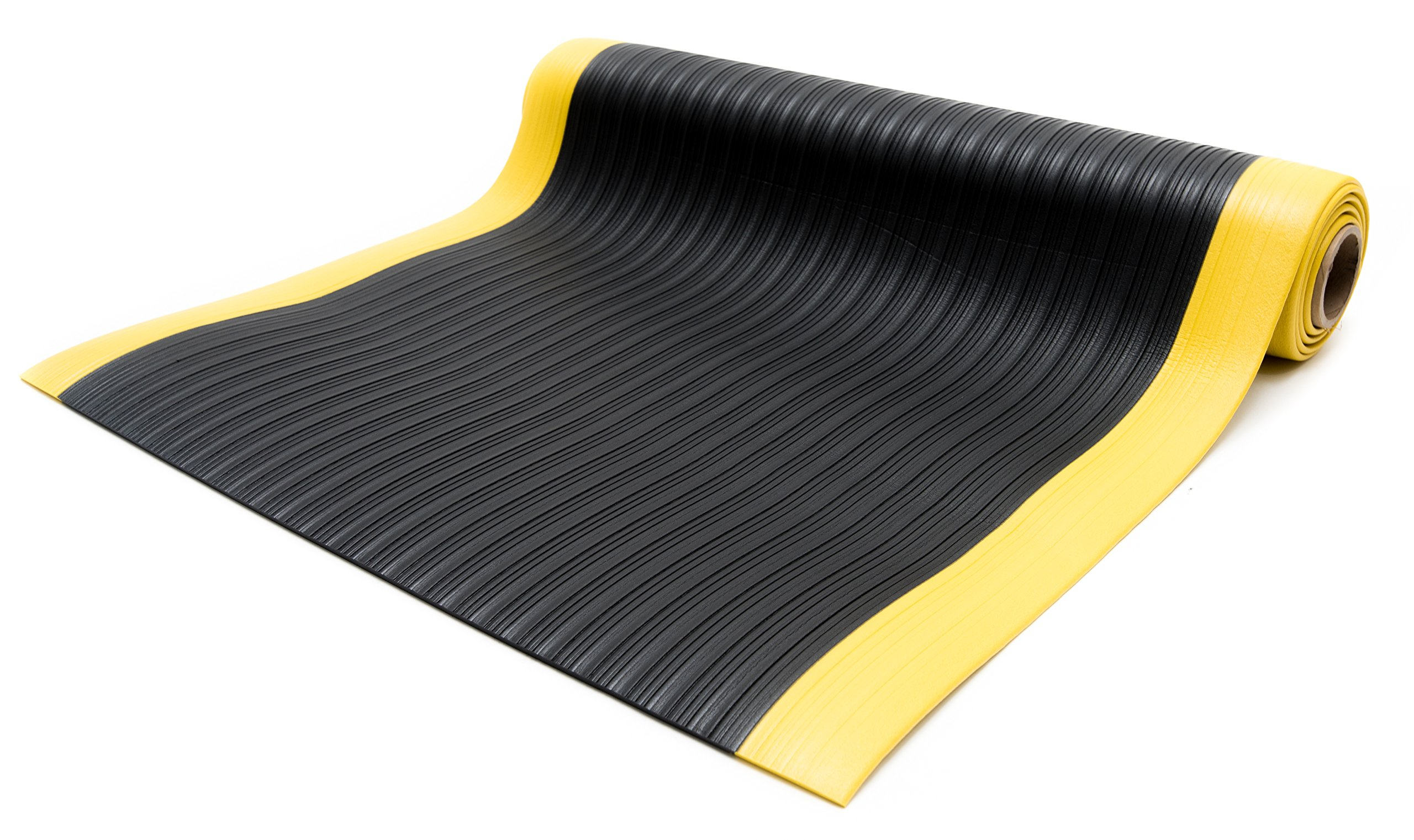Bertech Anti Fatigue Vinyl Foam Floor Mat, 4' Wide x 6' Long x 3/8'' Thick, Ribbed Pattern, Black w/Yellow Border (Made in USA)