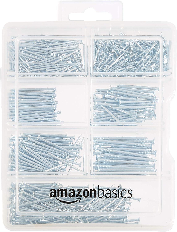 AmazonBasics - Juego de clavos variados; incluye clavos de acabado, de alambre, normales, brad y para colgar cuadros, 550 unidades