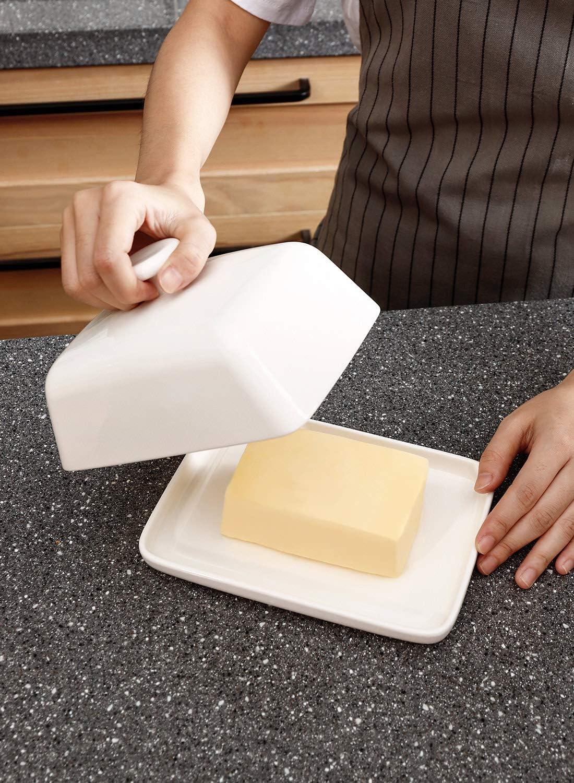 Sweese Beurrier en porcelaine avec couvercle pour beurre 250 g blanc