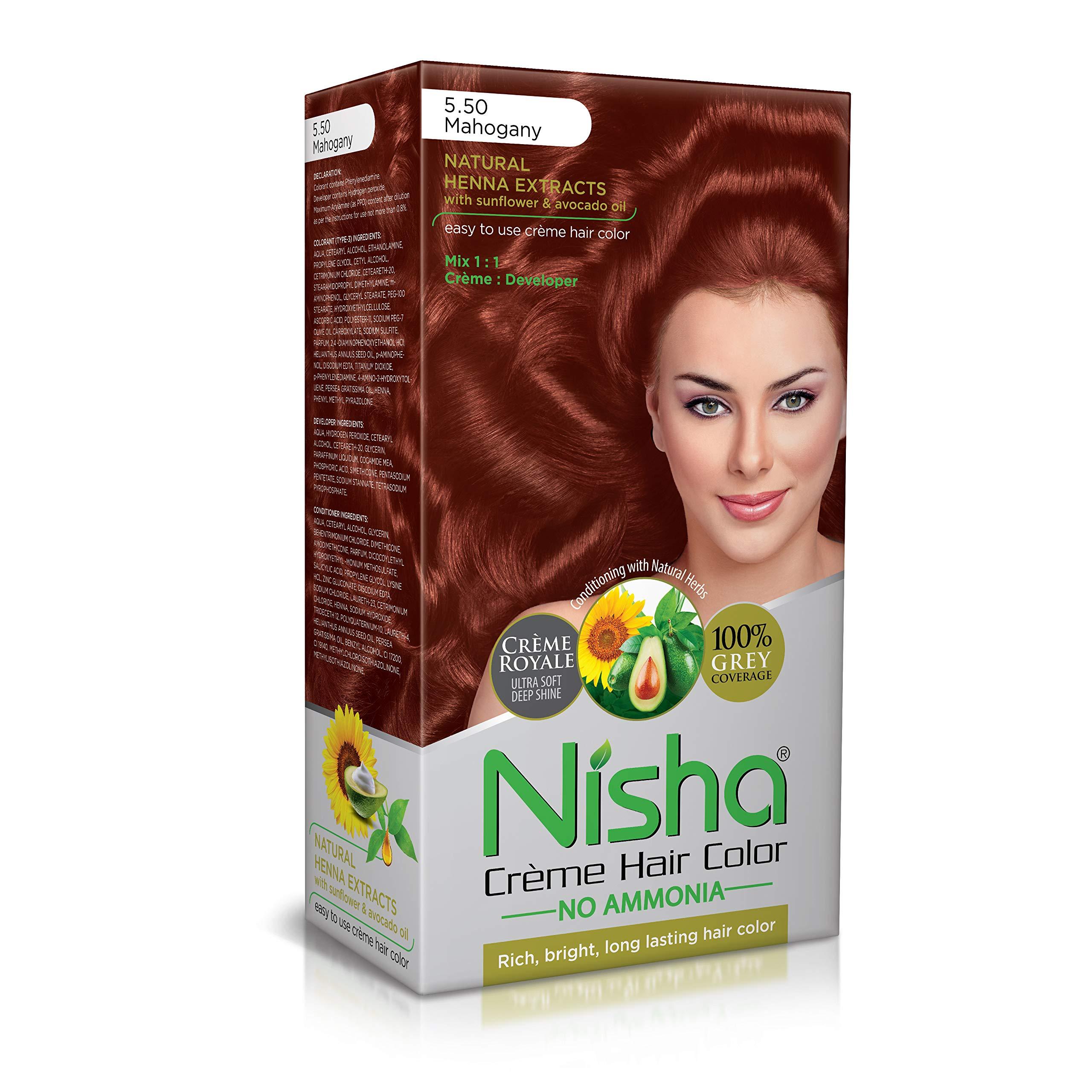 Nisha cream hair color superior quality no ammonia cream formula permanent Fashion Highlights and rich bright long-lasting colour Mahogany (pack of 1) by Nisha