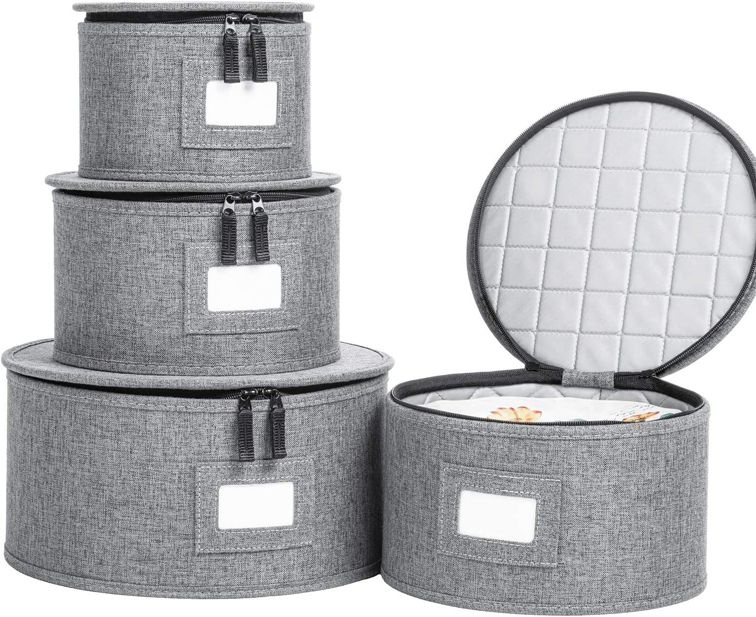 LAMINET 4 Piece Quilted Plate Storage Set Holds Up to 48 Plates with Felt Divider Inserts GREY