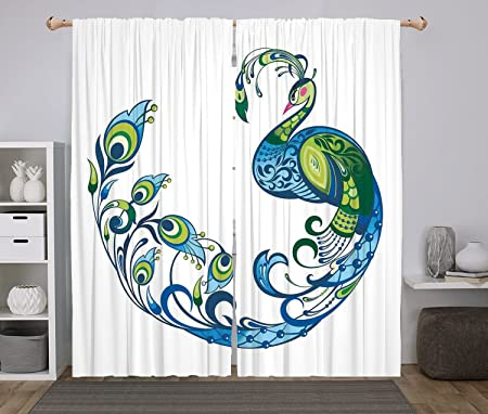 2 Panel Set Window Drapes Kitchen Curtains,Peacock Decor Peacock Colorful  Fashion Curvy Pattern Tropical
