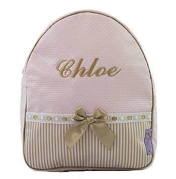 Mochila o Bolsa Infantil lencera Personalizada con Nombre en plastificado Rosa, Rayas Camel y pasacintas Camel: Amazon.es: Equipaje