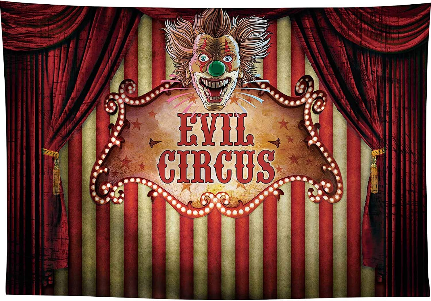 Allenjoy 7x5ft Halloween Evil Circus Backrop for Birthday Party Supplies Decorations Horrible Prom Photography Scary Carnival Banner Background Red Stripes Curtain Pictures Photoshoot Props Favors
