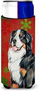 Caroline's Treasures LH9334MUK Bernese Mountain Dog Red Green Snowflakes Holiday Christmas Ultra Beverage Insulators for slim cans, Slim Can, multicolor