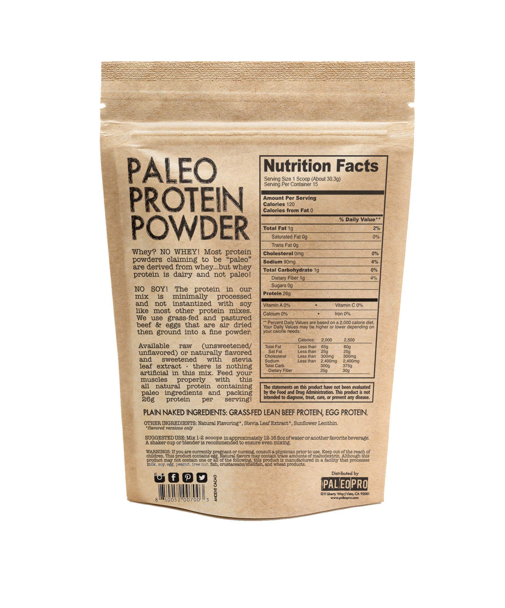 PaleoPro - Paleo Protein Powder - Gluten Free, no Dairy, no whey, no Soy, pastured Grass-fed Beef, no Added Hormones, Minimal Processing, Paleo Ingredients, Delicious Taste - 1lb/454g by Paleo Pro