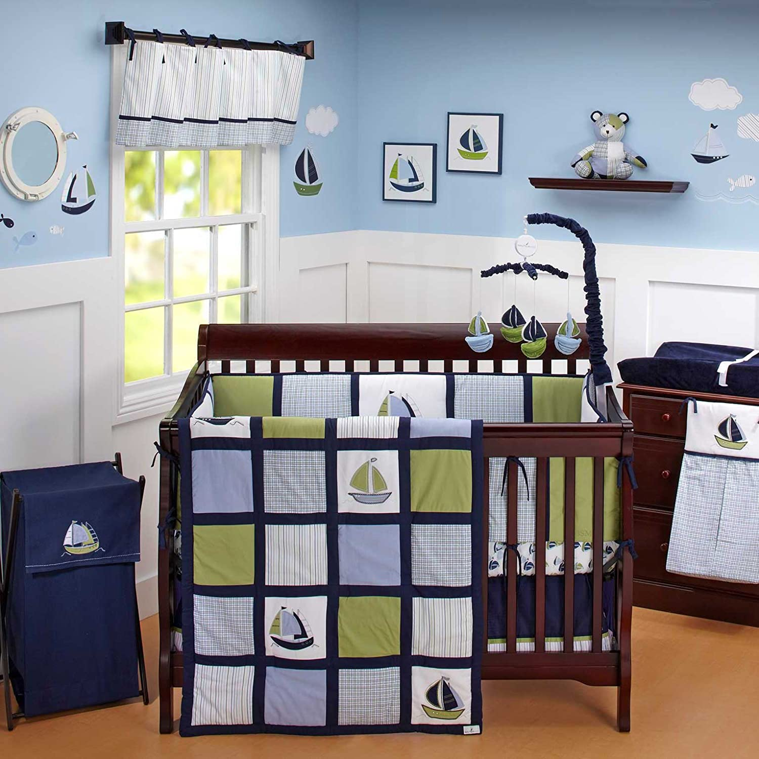 Nautical baby bedding sets - Amazon Com Zachary 7 Piece Baby Crib Bedding Set With Bumper By Nautica Kids Nautica Kids Zachary Fitted Crib Sheet Baby